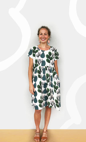 (ALL SIZES RE-STOCKED)Coral Cacti 100% Cotton Pleated Dress (white)