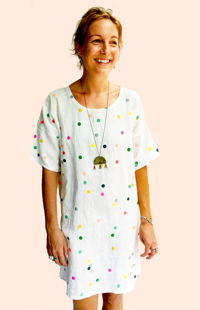 Only a few sizes left (one of each) Confetti 100% linen dress