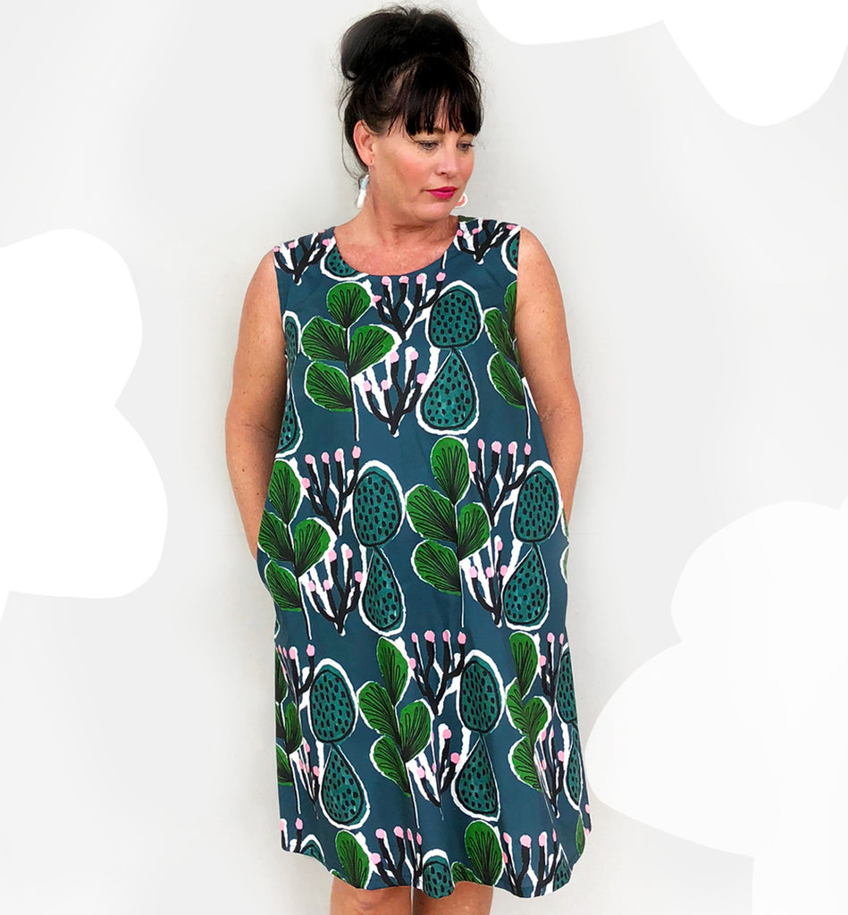 Coral Cactus navy dress with tie.