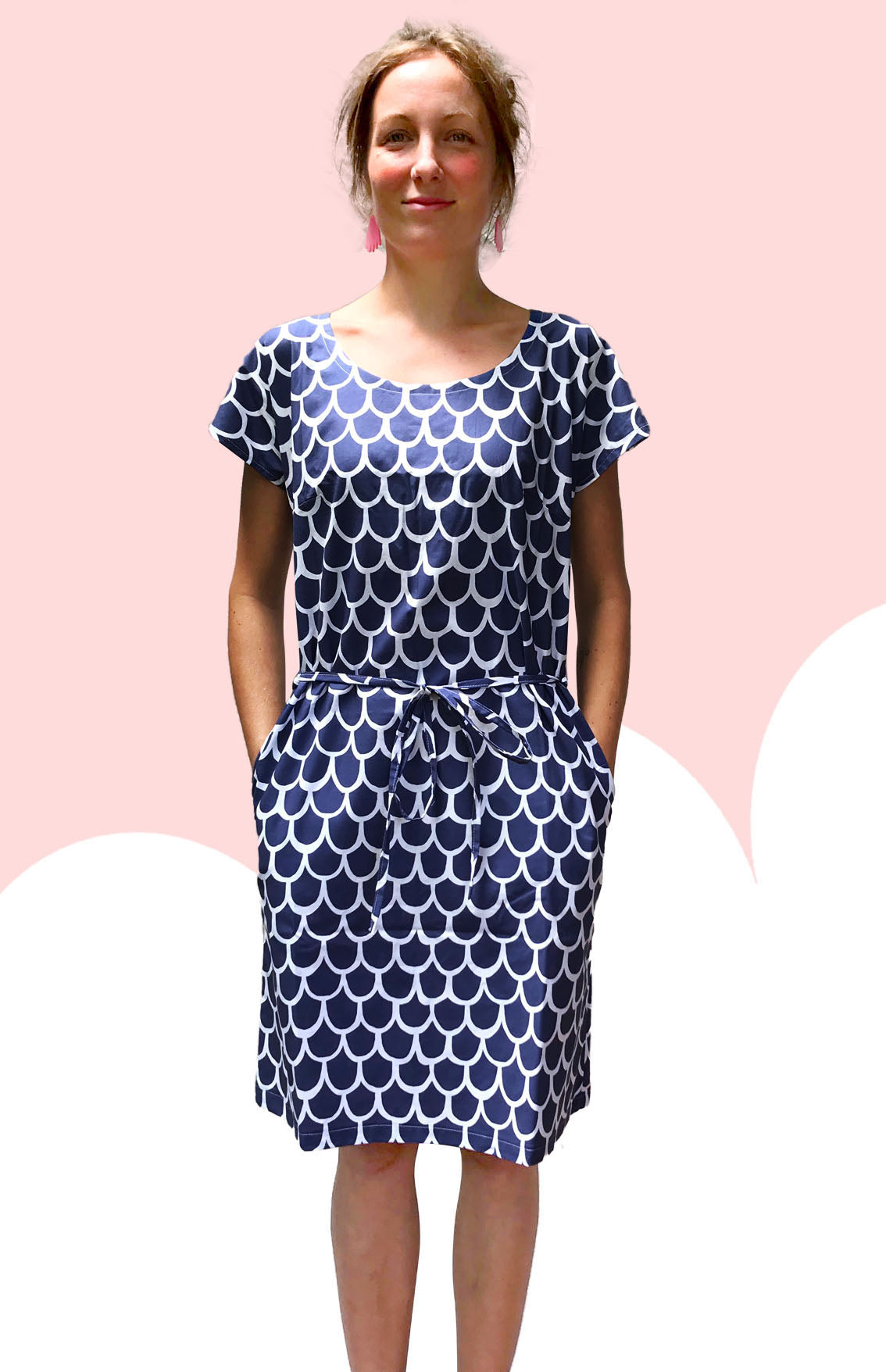 Royal Sea Scale 100% cotton dress with pockets