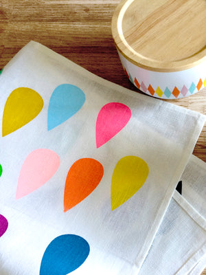 "Load image into Gallery viewer, Screen Printed ""Bright Drops"" Off White Linen Tea Towel"