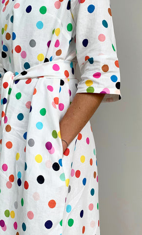 NEW Confetti 100% linen dress with tie (white)