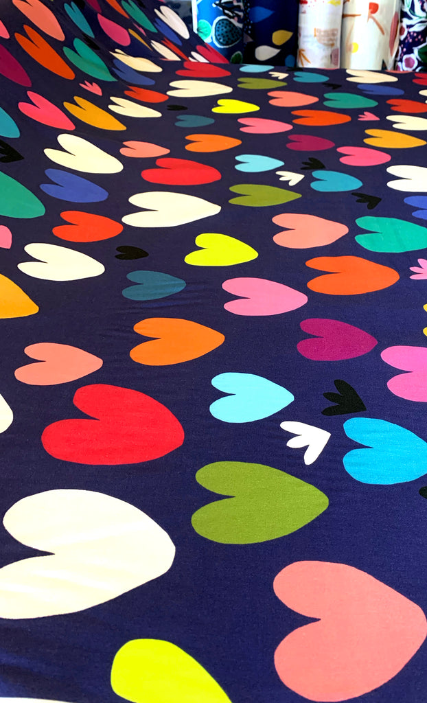 Hearts (navy) 100% cotton satin per metre