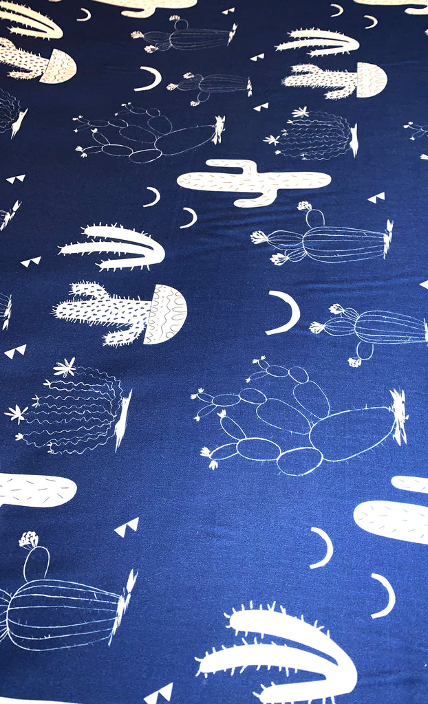 Navy Cactus (navy) 100% cotton satin per metre
