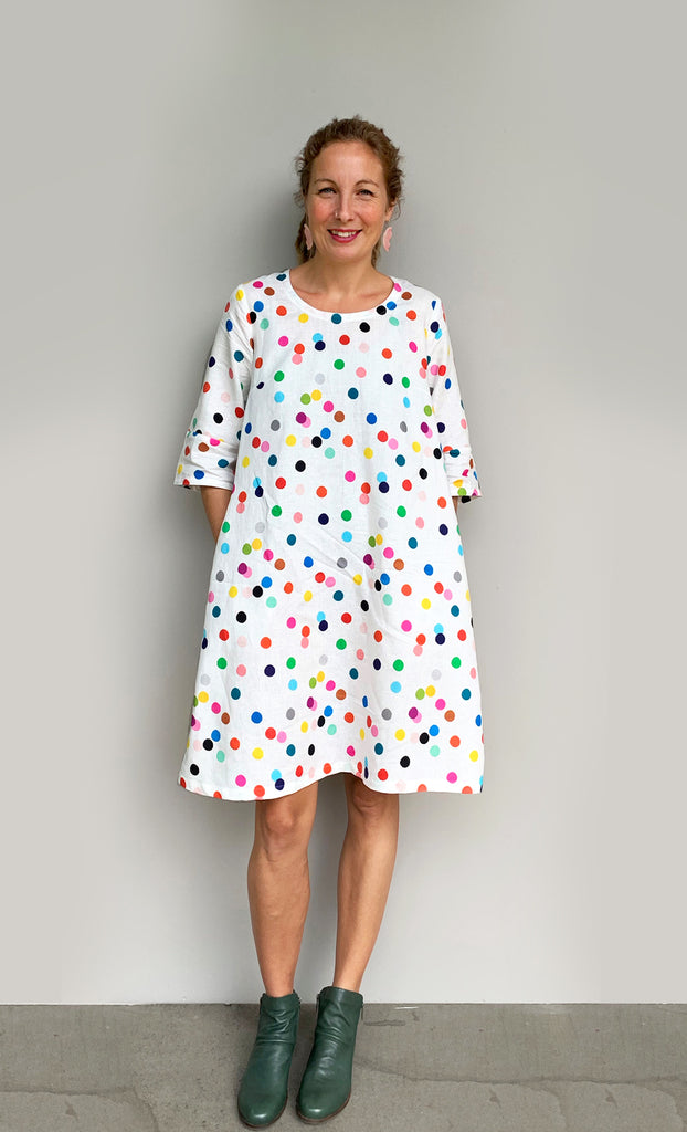 Confetti 100% linen dress with tie (white)