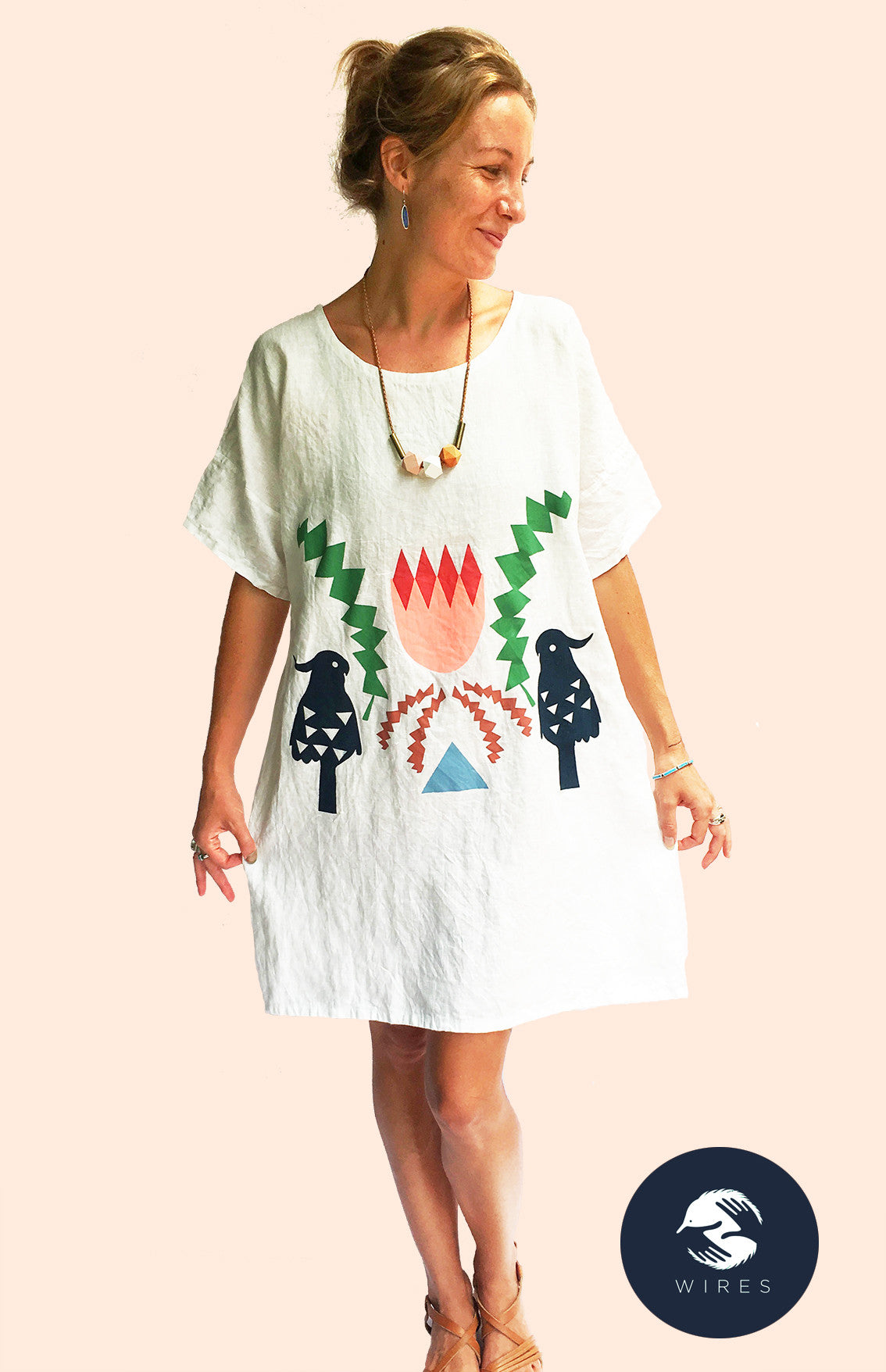 Crowned Banksia 100% linen dress
