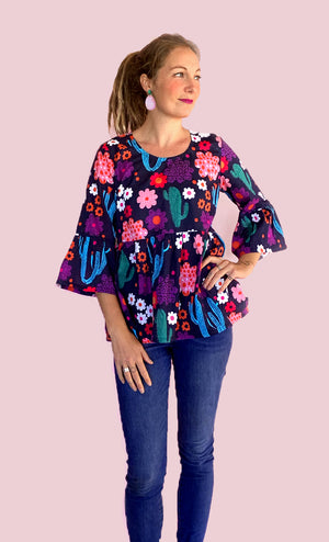 Load image into Gallery viewer, Bloom pleated 100% cotton top (XS + M LEFT)