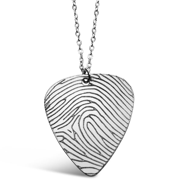 Custom Fingerprint Guitar Pick Necklace