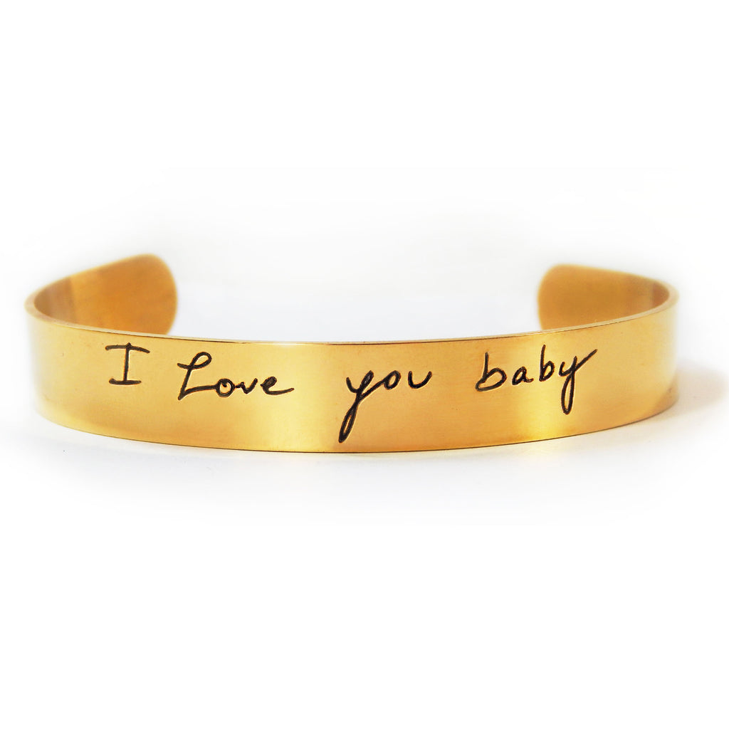 Custom Handwriting Thin Gold Cuff Bracelet