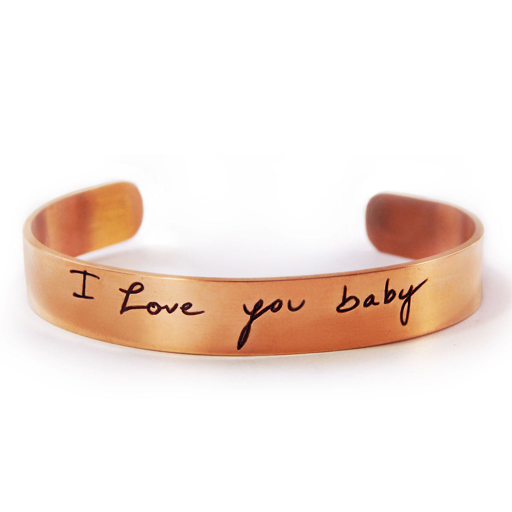 Custom Handwriting Thin Rose Gold Cuff Bracelet