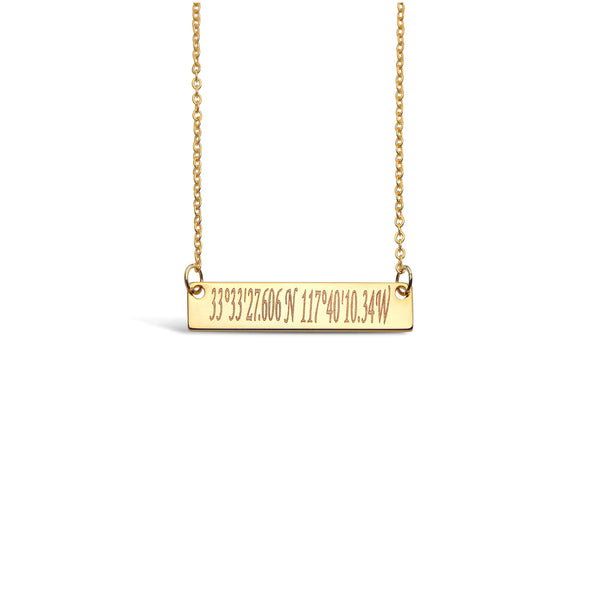 Custom Coordinates Bar Pendant Necklace - Silver - Gold - Rose Gold