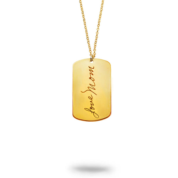 Custom Gold Filled Handwriting Dog Tag Keychain or Necklace