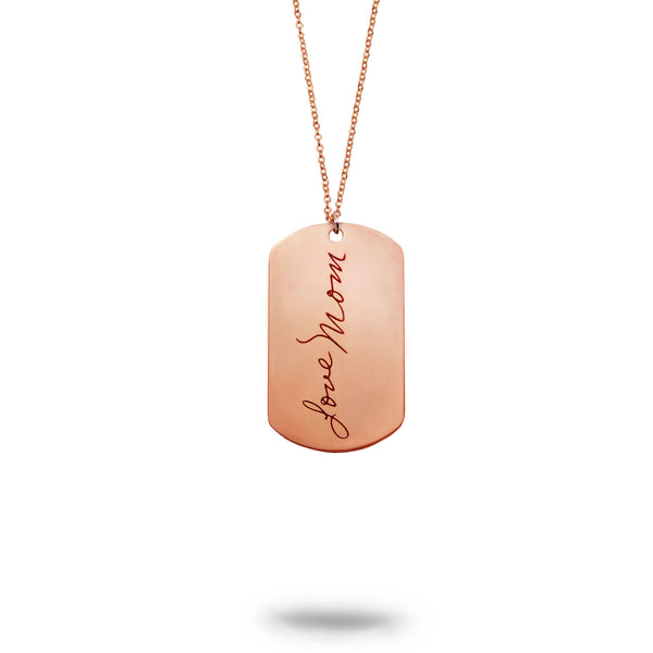 Custom Rose Gold Filled Handwriting Dog Tag Keychain or Necklace