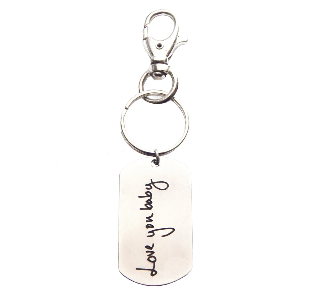 Custom Handwriting Dog Tag Keychain or Necklace