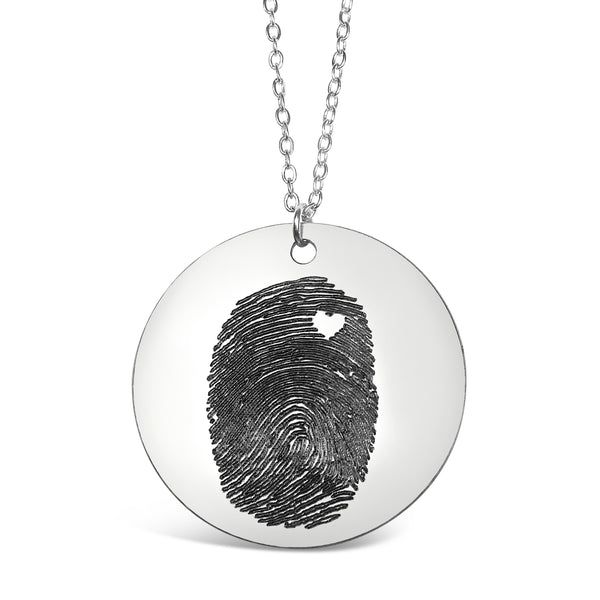 Custom Personalized Fingerprint With Heart Necklace