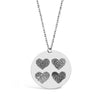 Custom Four Fingerprints Hearts Necklace