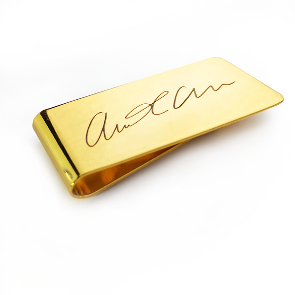Personalized Custom Handwriting Gold Plated Stainless Steel Money Clip