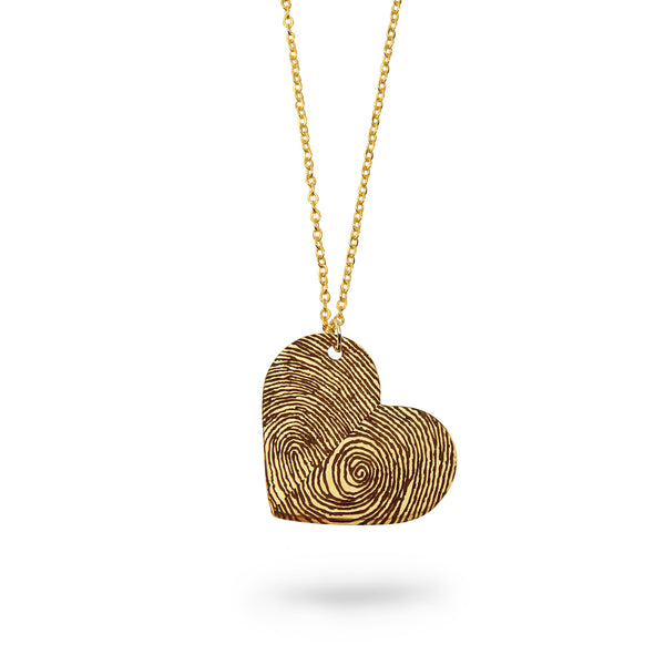 Custom Gold Filled Fingerprints Heart Necklace