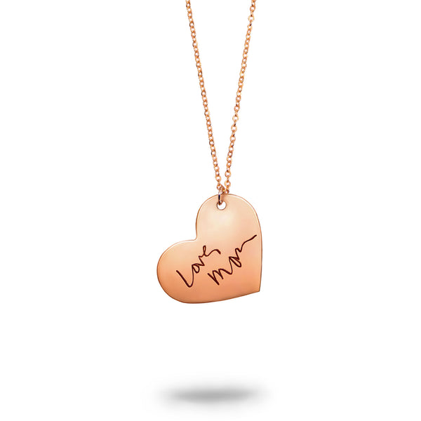 Rose Gold Filled Custom Handwriting Heart Necklace