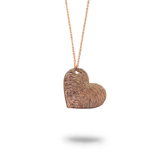 Custom Rose Gold Filled Fingerprints Heart Necklace
