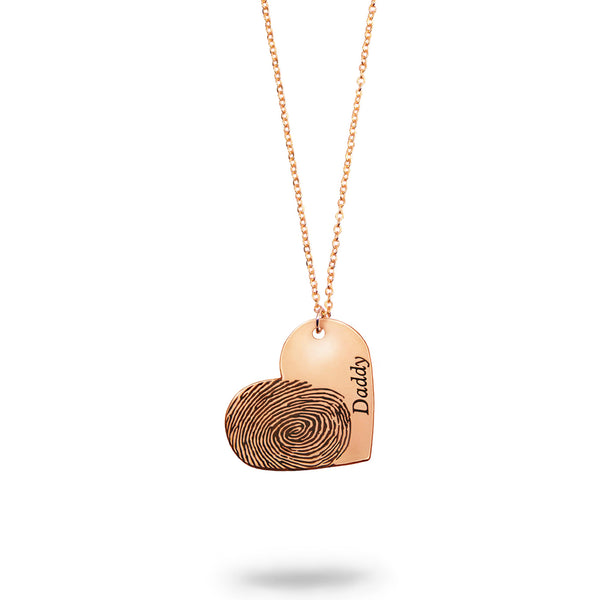 Rose Gold Filled Custom Fingerprint and Name Heart Necklace