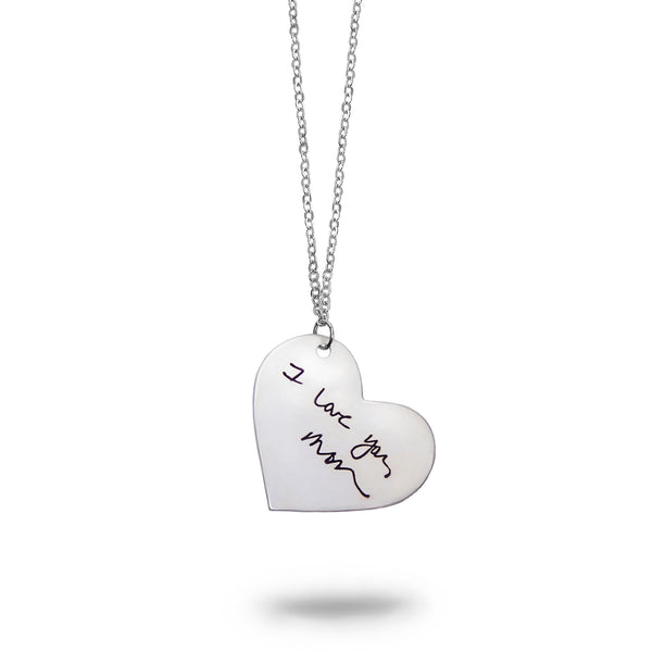 Custom Silver Handwriting Heart Necklace