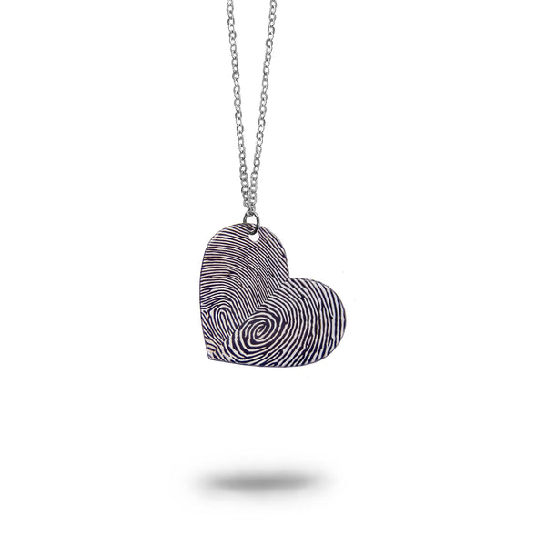 Custom Silver Fingerprints Heart Necklace