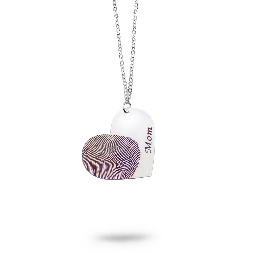 Custom Silver Fingerprint and Name Heart Necklace