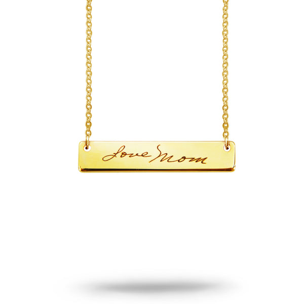 Custom Handwriting Bar Necklace Gold Plated