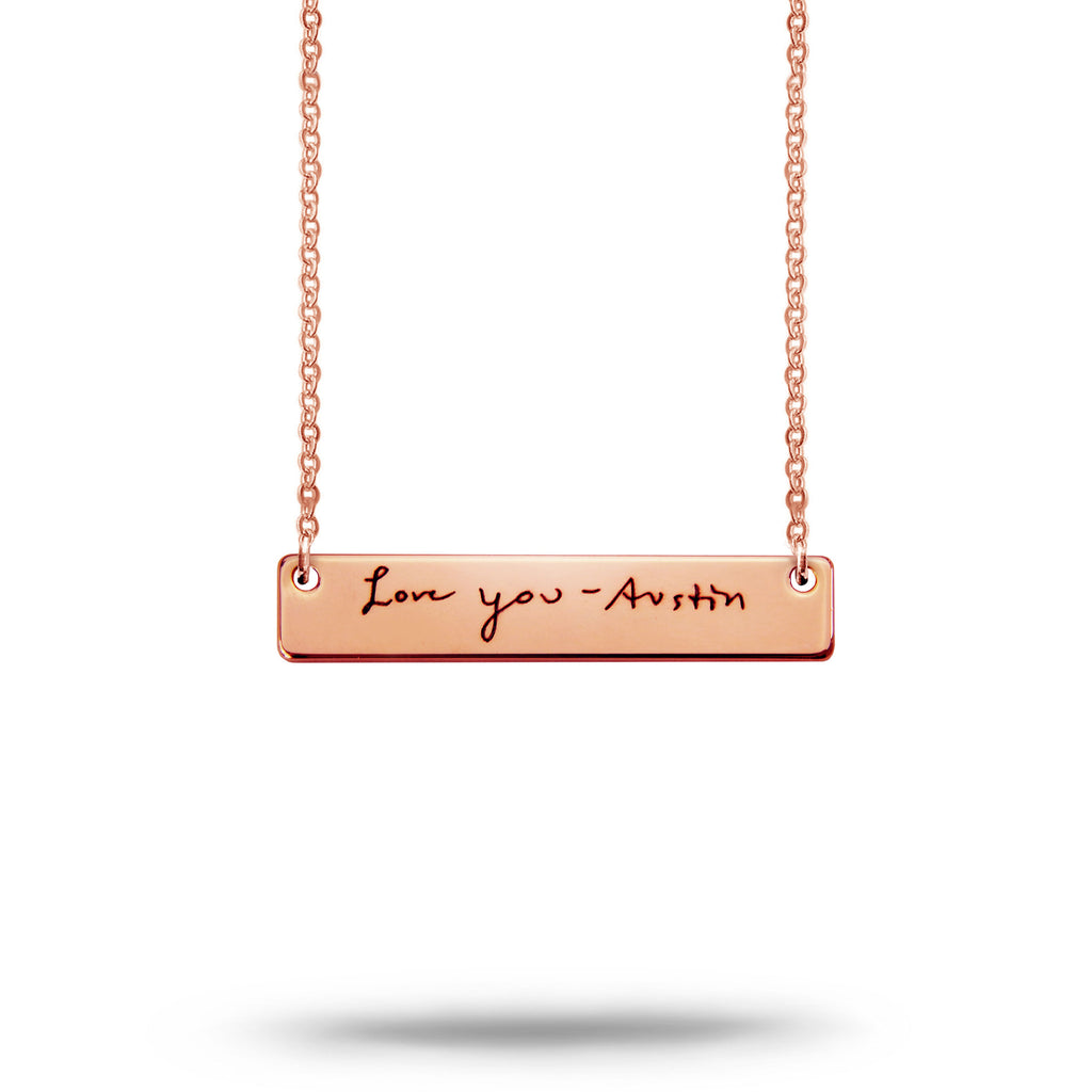 Custom Handwriting Bar Necklace Rose Gold Plated