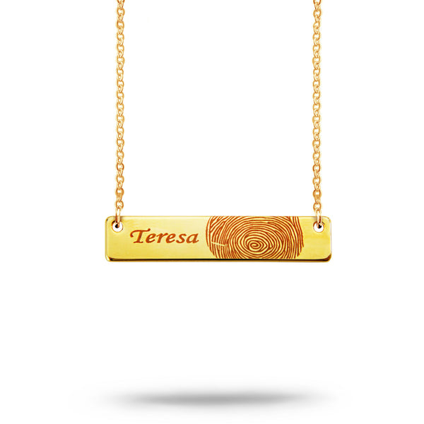 Custom Bar Fingerprint and Name Necklace Gold Plated