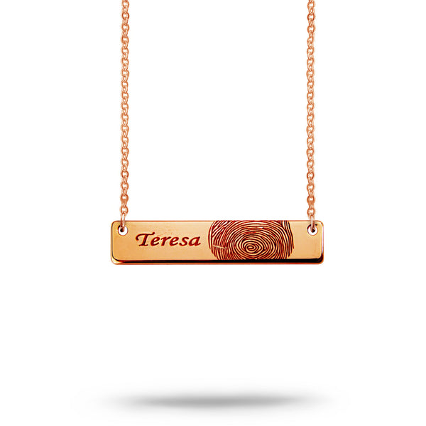 Custom Bar Fingerprint and Name Necklace Rose Gold Plated