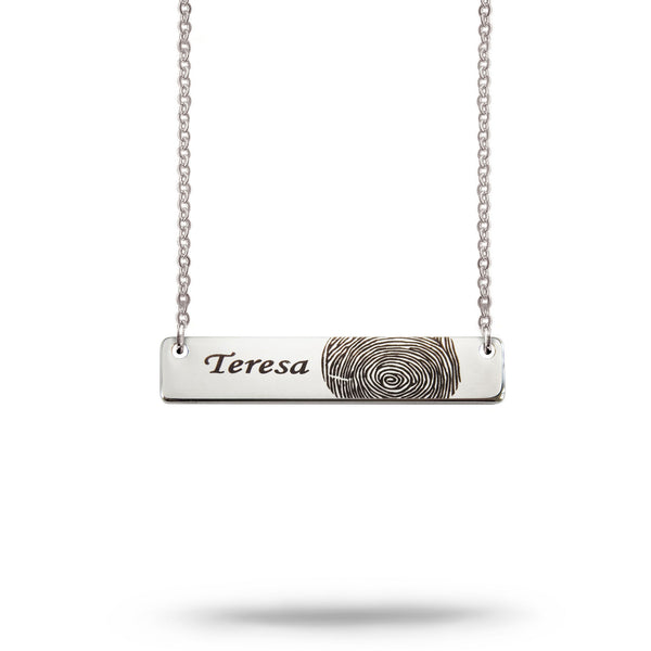 Custom Bar Fingerprint and Name Necklace Silver Plated