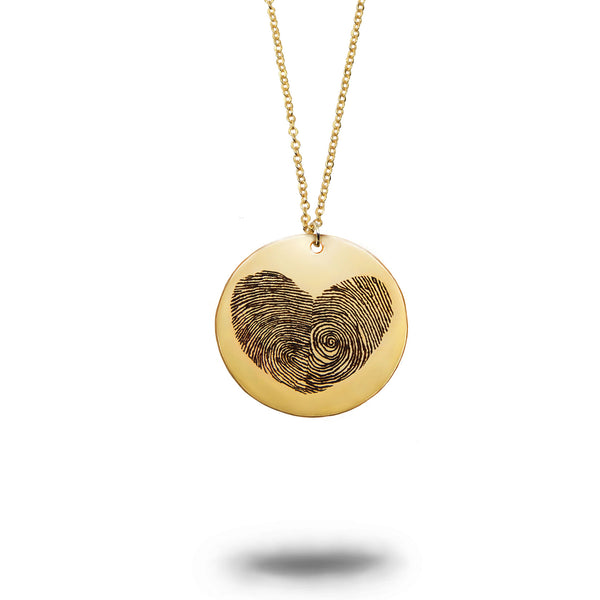 Gold Filled Actual Fingerprint Heart Necklace