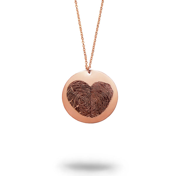 Rose Gold Filled Actual Fingerprint Heart Necklace