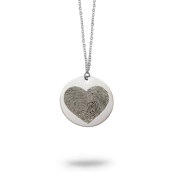 Solid Sterling Silver Fingerprint Heart Necklace