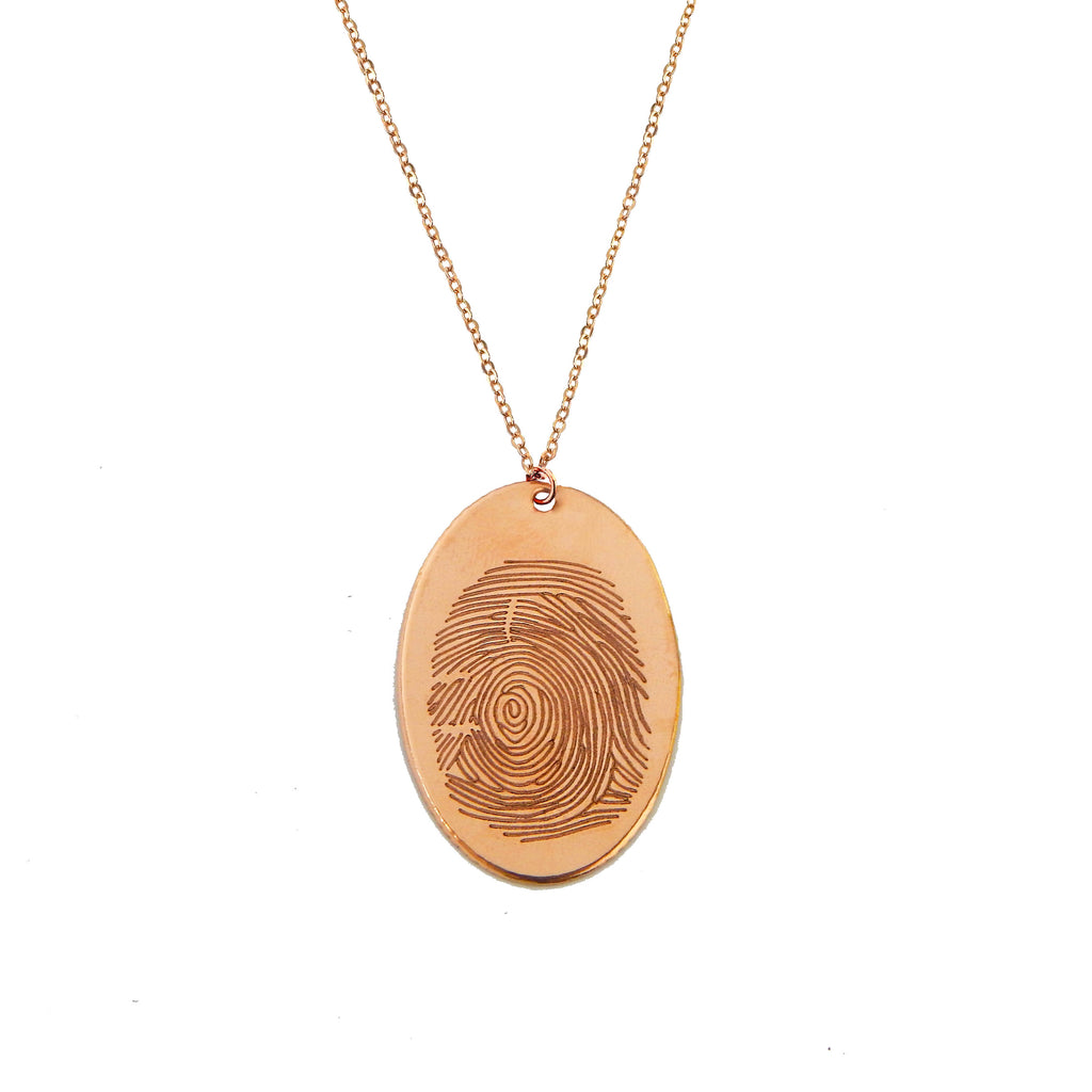 Custom Rose Gold Filled Oval Fingerprint Necklace