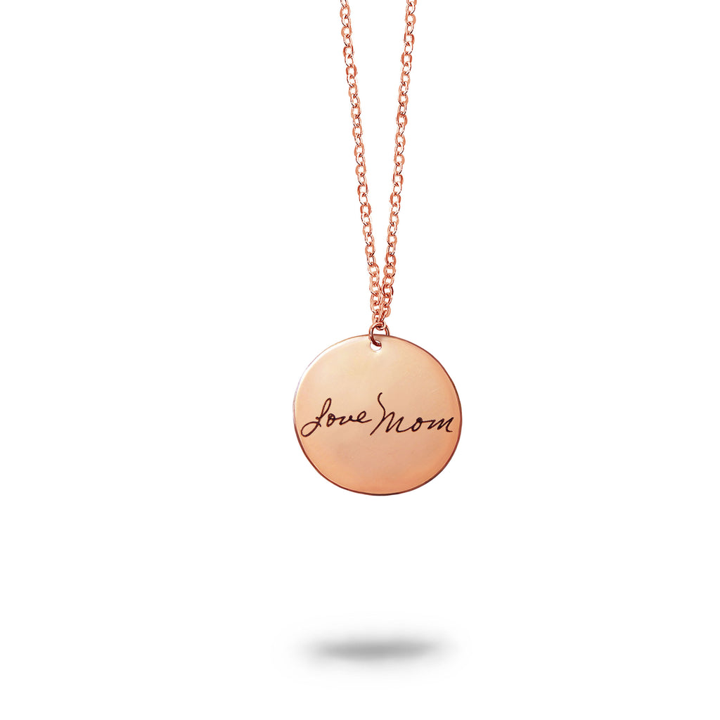 Rose Gold Filled Personalized Handwriting Small Round Necklace