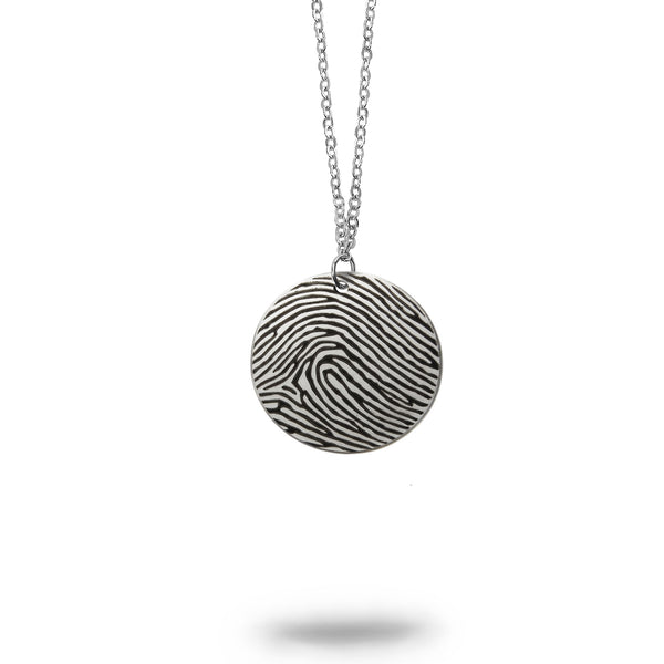 Solid Sterling Silver Actual Fingerprint Small Round Necklace