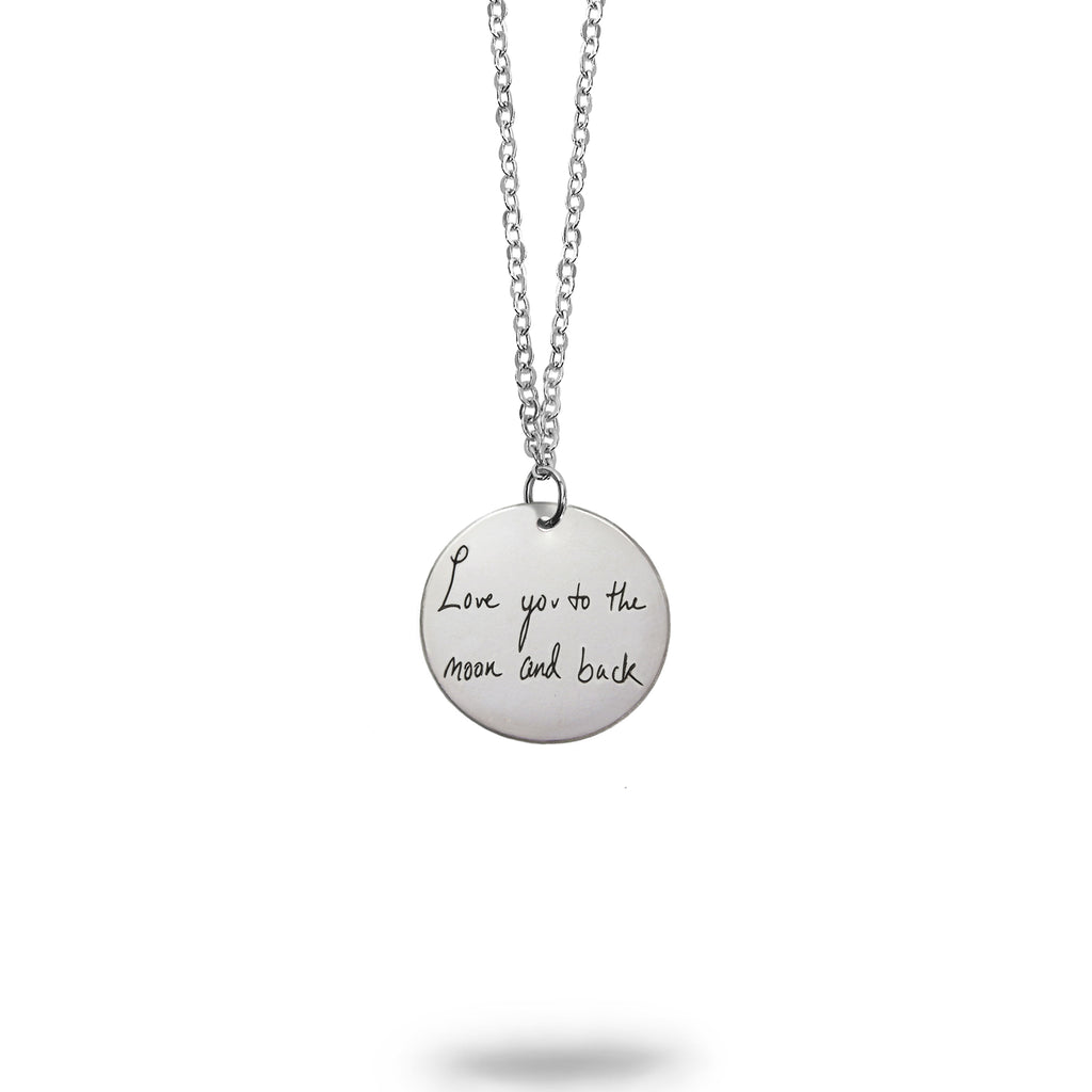Personalized Sterling Silver Handwriting Small Round Necklace