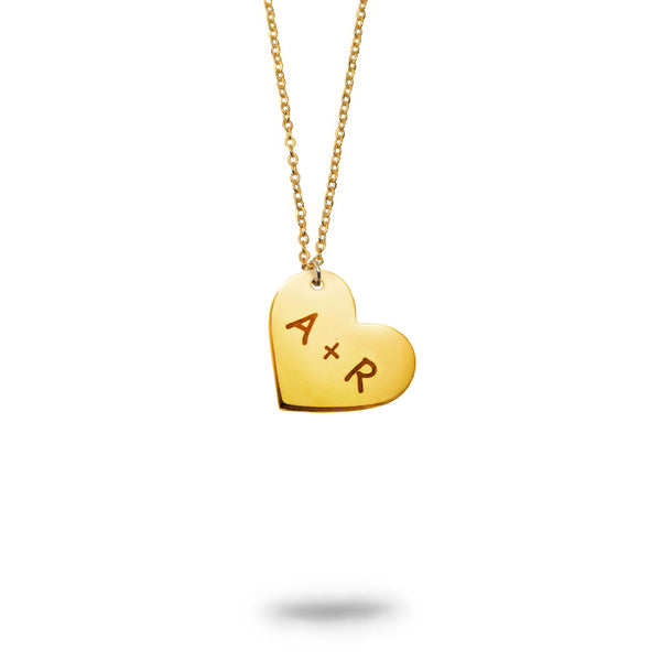 Custom Initials Small Heart Necklace Gold Filled