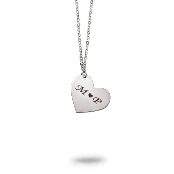 Custom Initials Small Heart Necklace Sterling Silver