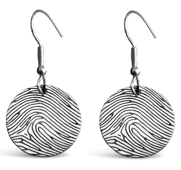 Personalized Sterling Silver Fingerprint Small Silver Round Earrings