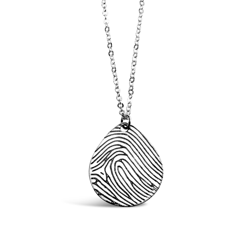 fullxfull fine il products off center custom heart large fingerprint hangs necklace silver