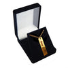 Custom Vertical Bar Fingerprint and Name Necklace Gold Plated