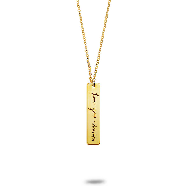 Custom Gold Plated Handwriting Vertical Bar Necklace