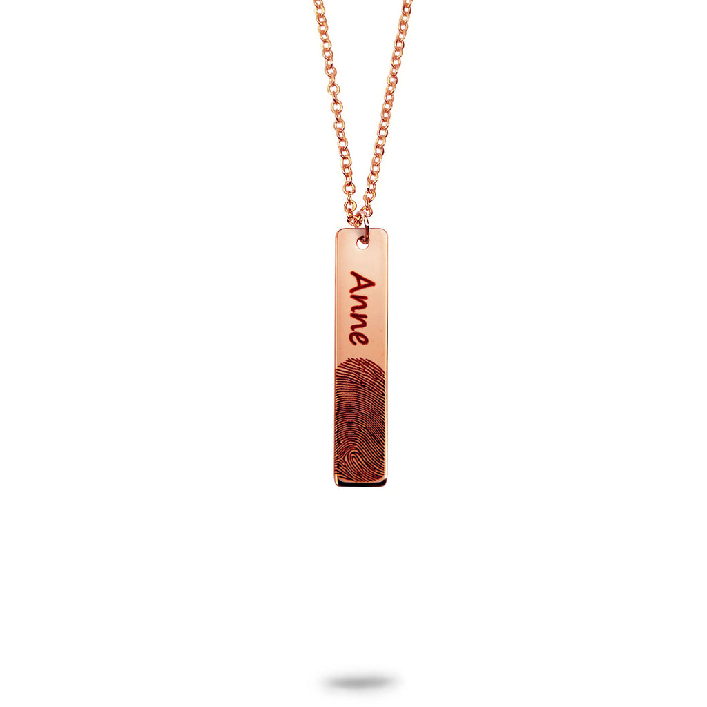 Custom Vertical Bar Fingerprint and Name Necklace Rose Gold Plated