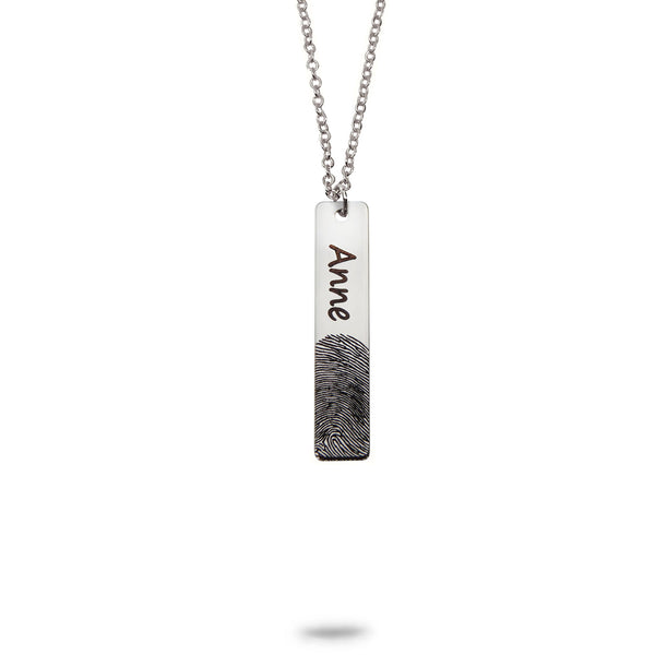 Custom Vertical Bar Fingerprint and Name Necklace Silver Plated