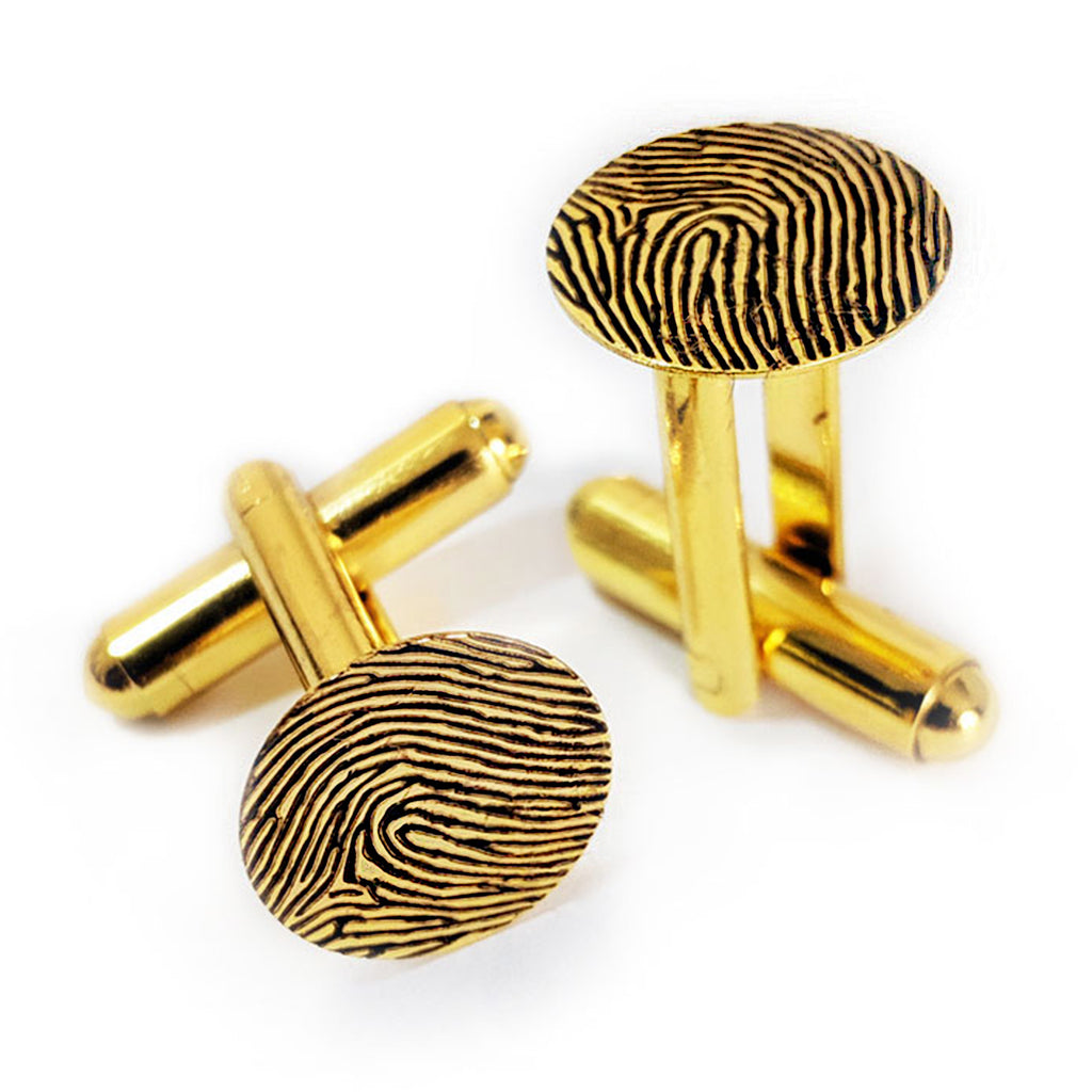 Custom Personalized Fingerprint Cuff Links Gold Plated