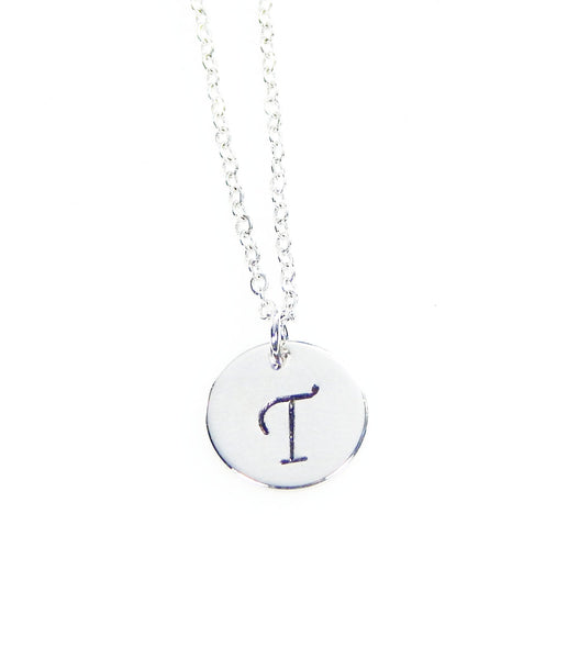 Initial Circle Charm Necklace - Silver - Gold - Rose Gold